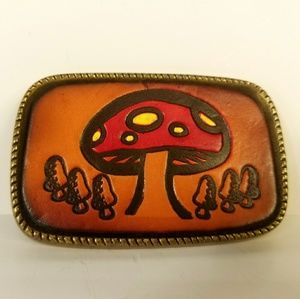 Belt Buckle, Mushroom, Leather, Brass Tone, Boho